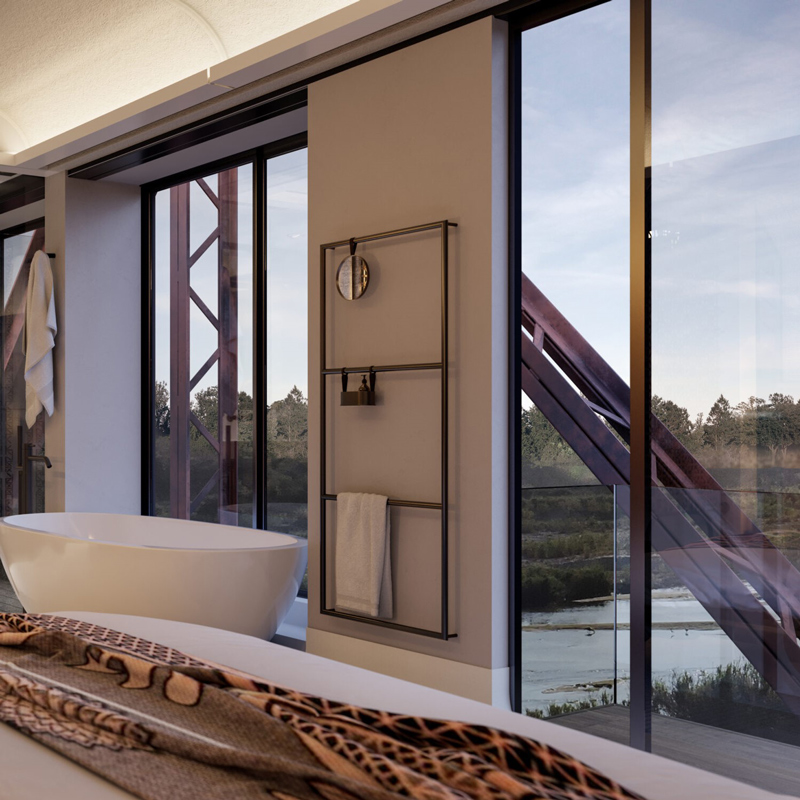kruger shalati hotel train on the bridge skukuza south africa